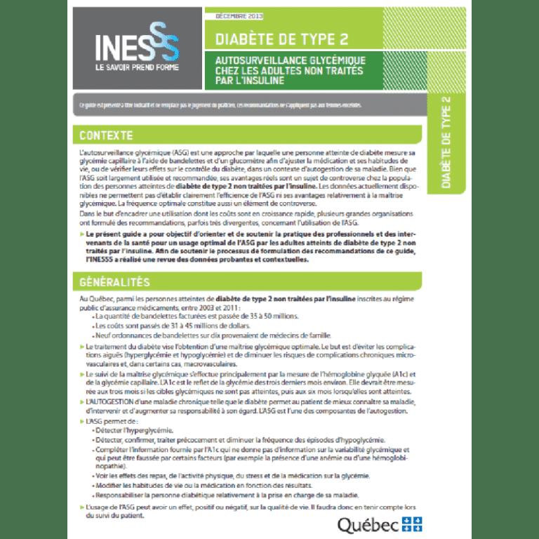 INESSS: Autosurveillance glycémique