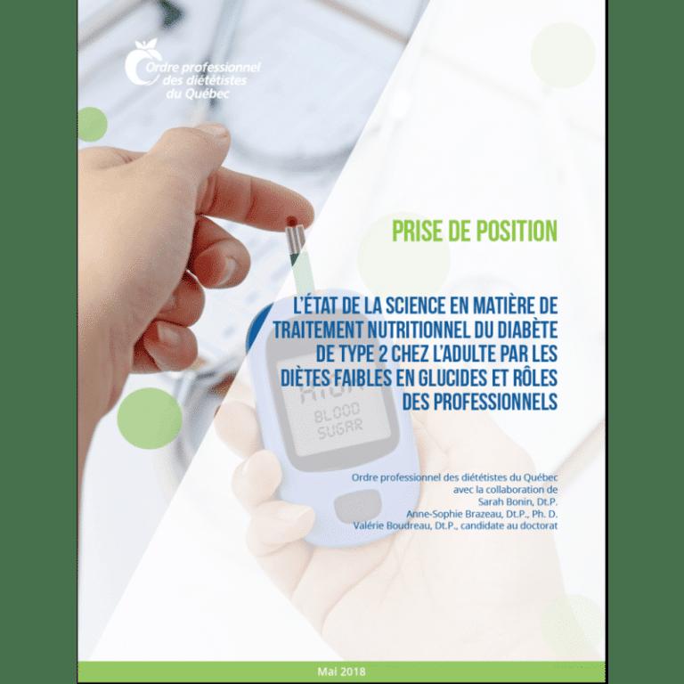 Prise de position OPDQ - Diètes faibles en glucides et diabète de type 2